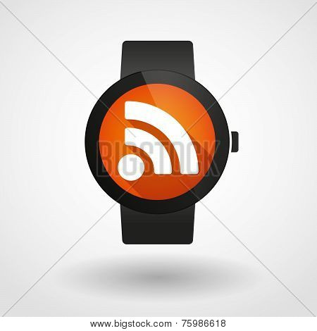 Smart Watch Icon With A Rss Feed Sign