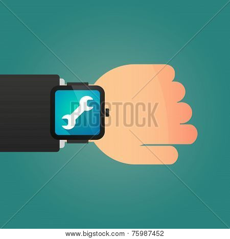 Hand With A Smart Watch Displaying A Monkey Wrench