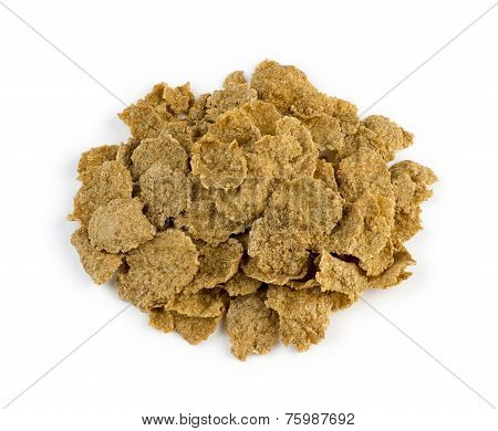 Aerial View Of Healthy Brown Bran Cereal Flakes Isolated Against White