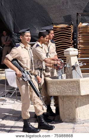 Young soldiers at the Western Wall in Jerusalem