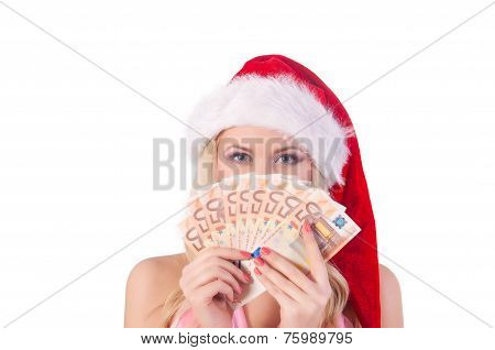 smiling woman in santa helper hat with  money