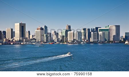 Panoramic view on Tokyo city from Sumida River, Japan. Day photo.