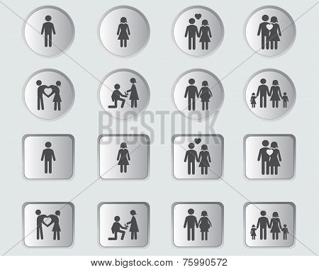 Love and Family Stick Figure in buttons