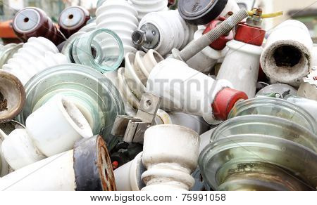 Ceramic Insulators In An Old Dump Obsolete Material And Hazardous Waste