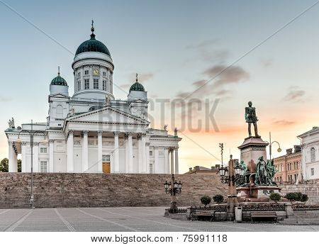 Helsinki Cathedral On Sunrise