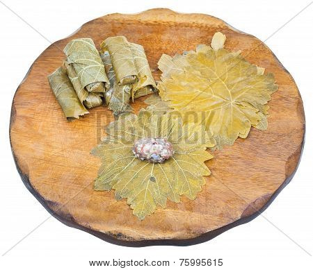 Preparation Of Dolma From Grape Leaves And Mince