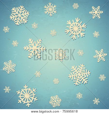 Aged card with snowflakes