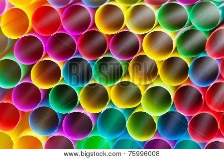 Multicoloured Plastic Drinking Straws Close Up