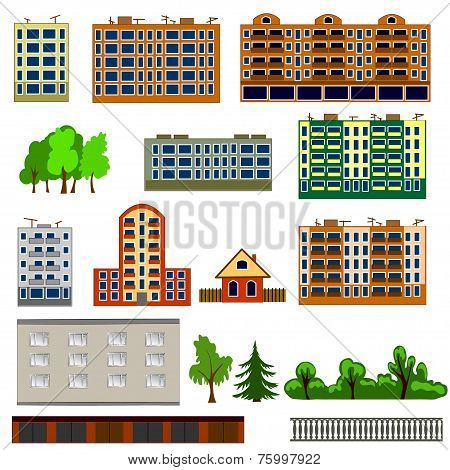 City houses set. Colorful, flat homes or buildings icon collection.