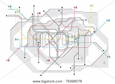 Subway map, a network of underground