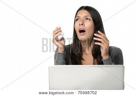 Sick Woman About To Sneeze In Front Her Laptop