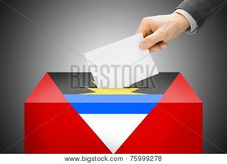 Voting Concept - Ballot Box Painted Into National Flag Colors - Antigua And Barbuda