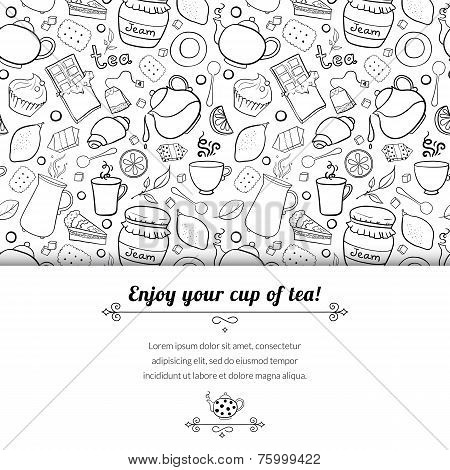 Tea and sweets black and white vector background