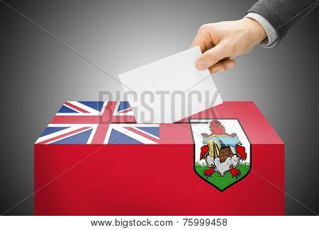 Voting Concept - Ballot Box Painted Into National Flag Colors - Bermuda