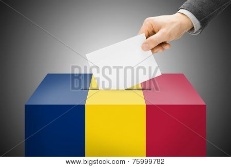 Voting Concept - Ballot Box Painted Into National Flag Colors - Chad