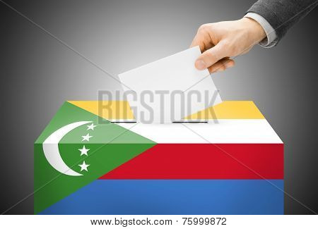 Voting Concept - Ballot Box Painted Into National Flag Colors - Comoros