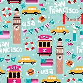 picture of trans  - Seamless san francisco travel icons colorful retro style illustration background pattern in vector - JPG