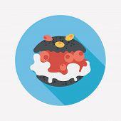 stock photo of cream puff  - Cream Puffs Flat Icon With Long Shadow - JPG