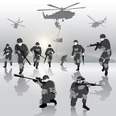 picture of military helicopter  - Squad of soldiers during the military operation - JPG