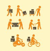 stock photo of rickshaw  - porters icon - JPG