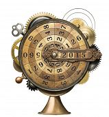 picture of steampunk  - Stylized steampunk metal collage of time counting device - JPG