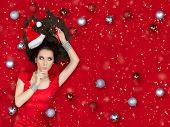 pic of flirty  - Beautiful surprised woman in Christmas fantasy portrait - JPG