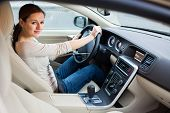 image of car ride  - woman driving a car - JPG
