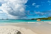 Beautiful Holiday Trip Destination - Anse Lazio Beach in Praslin Island. Captured in Panorama View. poster