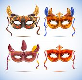 picture of masquerade  - Carnival masks with feathers - JPG