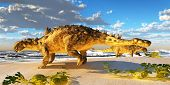 foto of behemoth  - Euoplocephalus dinosaurs come down to an ocean beach to munch on melons in the Cretaceous Period - JPG