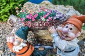 stock photo of garden sculpture  - Garden decoration statue - JPG