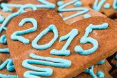 stock photo of christmas cookie  - 2015 number on gingerbread cookie  - JPG