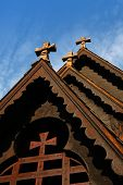 picture of reining  - Front detail of the Reinli stave church - JPG