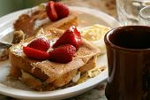 stock photo of french toast  - Hearty breakfast with strawberry topping