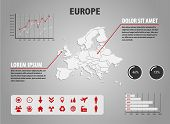 Map of Europe - infographic illustration with charts and useful icons poster