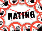 stock photo of stop hate  - illustration of abstract design concept for no hating - JPG