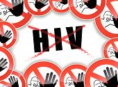 foto of hiv  - illustration of abstract design concept for no hiv - JPG
