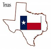 stock photo of texas star  - Outline of the state of Texas with flag isolated - JPG