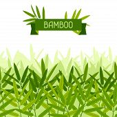 stock photo of bamboo leaves  - Seamless tropical pattern with stylized bamboo leaves - JPG