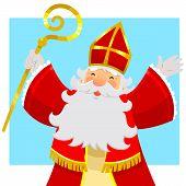 picture of nicholas  - cartoon Sinterklaas or Saint Nicholas smiling and raising his hands - JPG