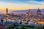 picture of landscape architecture  - View of Florence after sunset from Piazzale Michelangelo, Florence, Italy