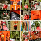 Постер, плакат: Collection of Fushimi Inari Taisha Shrine scenics fox statue thousands of torii paper cranes of t
