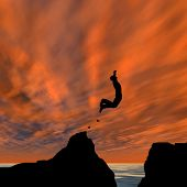stock photo of gap  - Concept or conceptual young man or businessman silhouette jump happy from cliff over water gap sunset or sunrise sky background - JPG