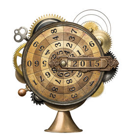 picture of time machine  - Stylized steampunk metal collage of time counting device - JPG