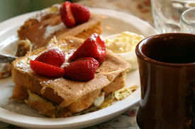 foto of french toast  - Hearty breakfast with strawberry topping  - JPG
