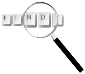 picture of keyboard keys  - A magnifying glass over the keys - JPG
