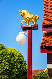image of kama  - A golden horse lamp in Wat Kuan Kama - JPG