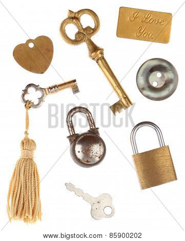 Keys Locks Button & I Love You Tags