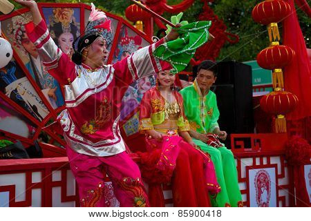 Chinese procession at the Carnaval International de Victoria in Seychelles