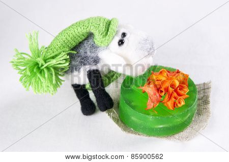 Toy Lamb In A Gift